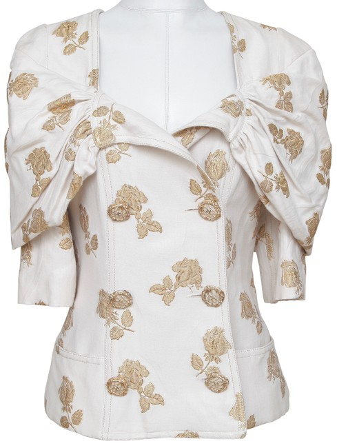 Item - Gold Jacket Double Breasted Silk Brocade Off White 40 Blazer Size 8 (M)