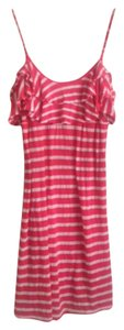 Ella Moss short dress Coral red and white stripe on Tradesy