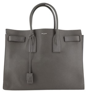 Saint Laurent Carryall Leather Tote in gray