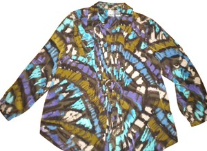 Roaman's Shirt Button Front Long Sleeve Front Ties Button Down Shirt Multicolor