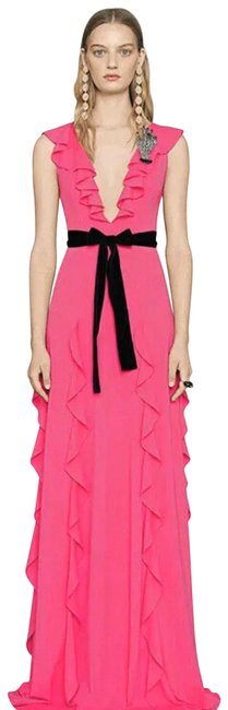 Item - Pink/Fuchsia Jersey S New Pink/Fuchsia Black Vevlet Belt Ruffle Evening Gown Long Night Out Dress Size 0 (XS)