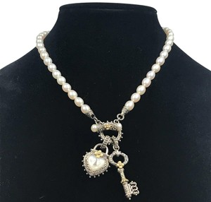 Barbara Bixby 18k Gold Sterling Silver Pearl Honora Toggle Necklace with Heart & Key Enhancers