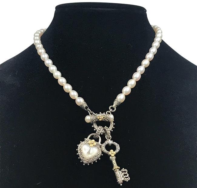 Item - 18k Gold Sterling Silver Pearl Honora Toggle with Heart & Key Enhancers Necklace