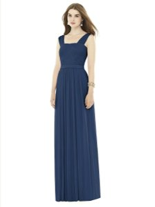 Alfred Sung Midnight (Navy) Chiffon D718 Pleat Knit A-line Gown with Belt Formal Bridesmaid/Mob Dress Size 6 (S)