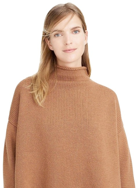 Item - Oversized Textured Lambswool Rolled Funnel Mock Light Brown Sweater