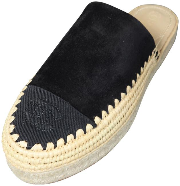 Item - Black Suede Grosgrain Cc Cap Toe Raffia Espadrilles Sold Out Mules New Flats Size EU 38 (Approx. US 8) Regular (M, B)