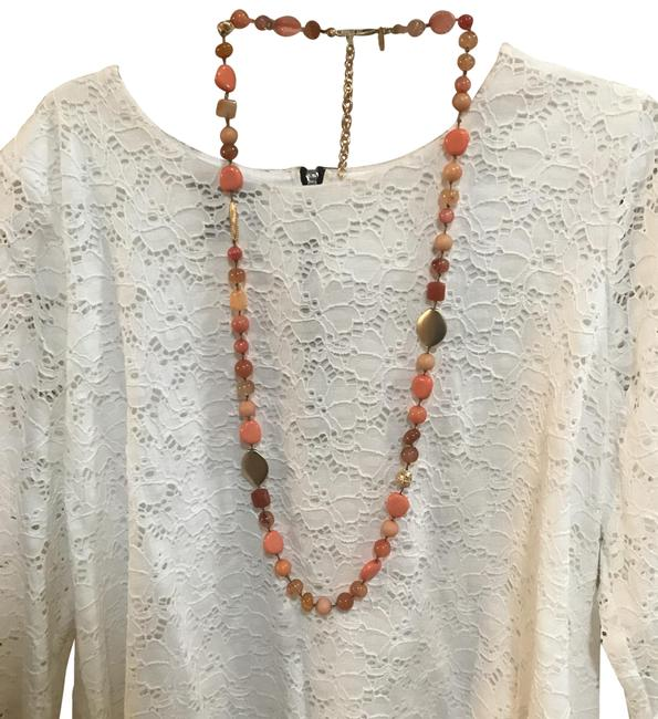 Item - Coral Amber Gold Long Single-strand Necklace