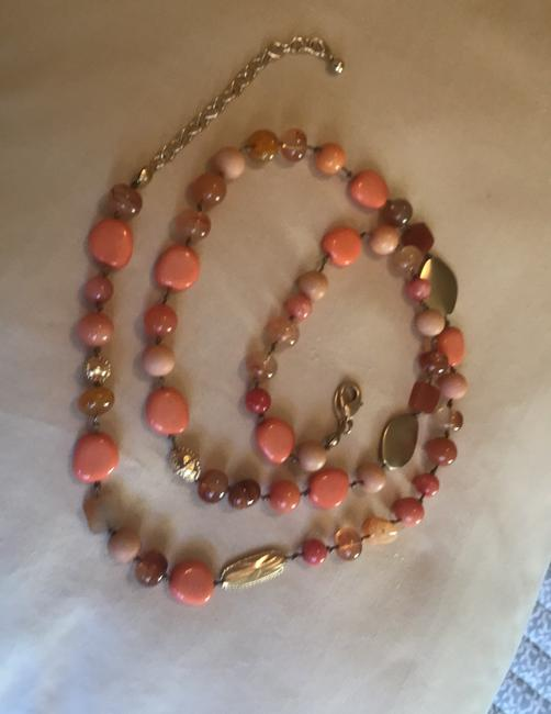 Chico's Coral Amber Gold Long Single-strand Necklace Chico's Coral Amber Gold Long Single-strand Necklace Image 2