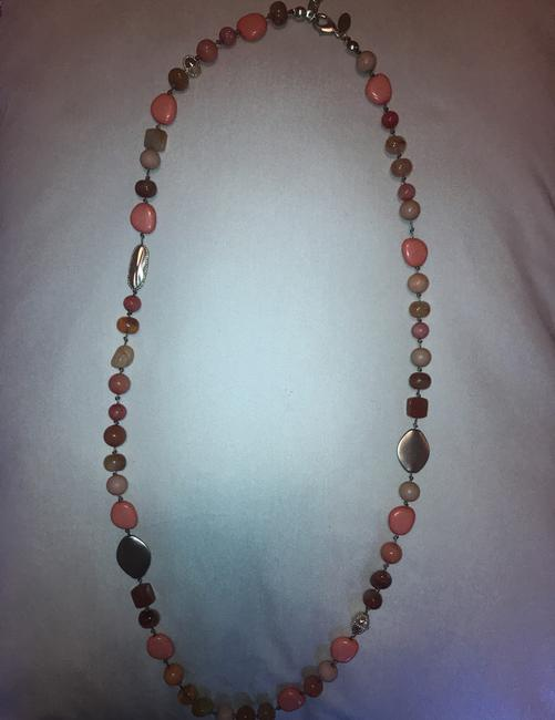 Chico's Coral Amber Gold Long Single-strand Necklace Chico's Coral Amber Gold Long Single-strand Necklace Image 3