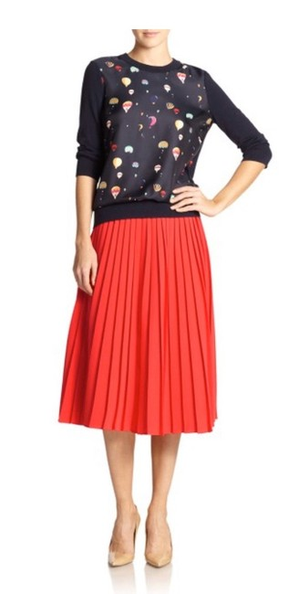 Kate Spade Coral Crepe Accordion Pleat Skirt Size 4 (S, 27) Kate Spade Coral Crepe Accordion Pleat Skirt Size 4 (S, 27) Image 1