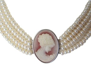 Colleen Lopez Colleen Lopez Faux Cameo & Pearl Necklace