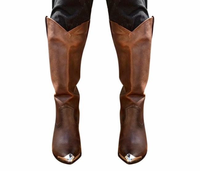 Item - Brown Redwood Pull On Leather Metallic Western Women Boots/Booties Size US 6 Regular (M, B)