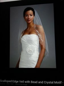 David's Bridal Scalloped Edge Veil W Swarovski Crystals