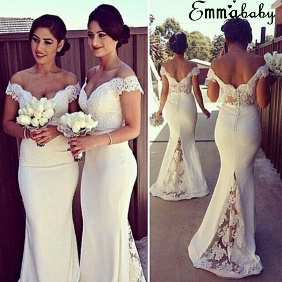 White Cotton Off Shoulder Gown With Flower Pattern Formal Wedding