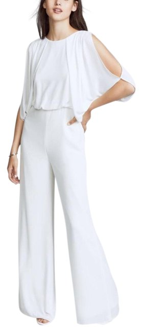 Item - White Heritage Slit-sleeve Wide-leg Romper/Jumpsuit
