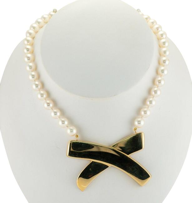 Item - Gold White Pearl Choker 18k Paloma Picasso Necklace