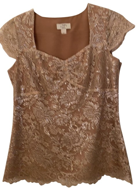 Item - Metallic Lace Side-zip Champagne/Silver Top