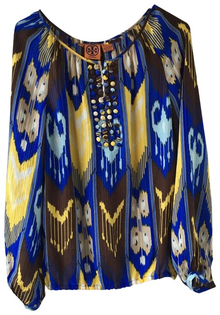 Item - Blue Yellow Peasant Blouse Size 4 (S)