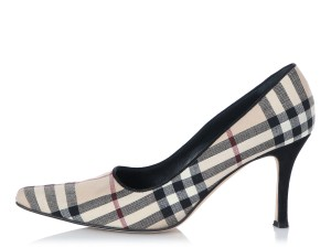 Burberry Bb.q1211.09 Check Red Plaid Suede Beige Pumps