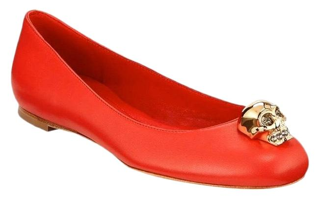 Item - Red Skull Ornamented Leather Flats Size EU 36 (Approx. US 6) Regular (M, B)