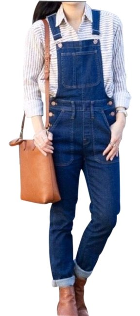 Item - Blue Dark Wash Buttons Overalls Skinny Jeans Size 2 (XS, 26)