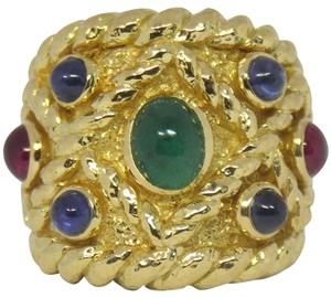 David Webb David Webb Emerald Ruby Sapphire Gold Band
