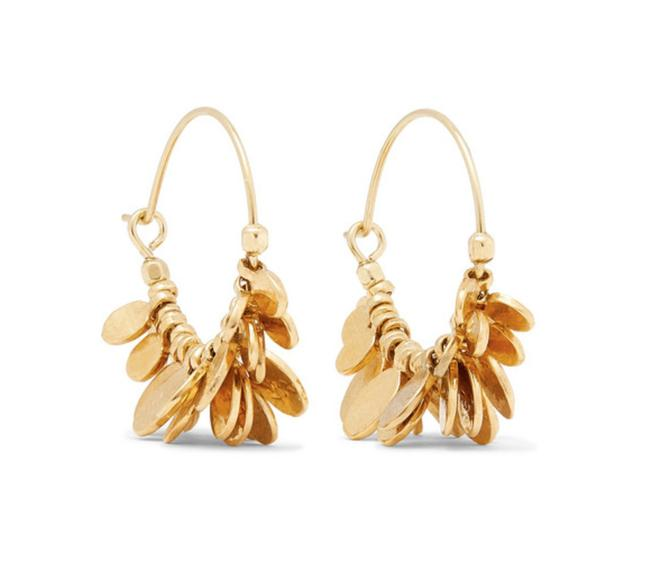 Item - Gold Leaves Hammered Charm Tone Round Hoop Drop Earrings