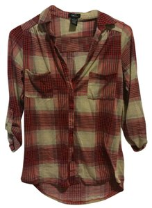 Rue 21 Button Down Shirt Red Plaid