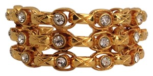 Chanel RARE VINTAGE CHANEL SEASON 23 GOLD PLATED CRYSTAL CUFF BRACELET