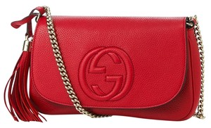 Gucci Leather Tassels Chain Strap Cross Body Bag