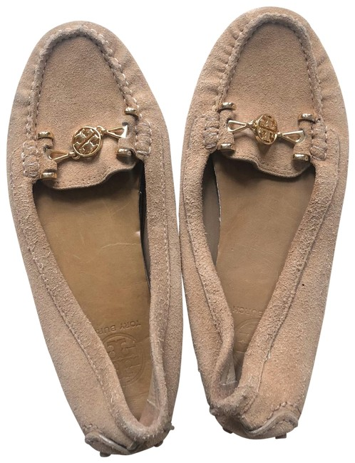 Item - Tan and Gold Leather Driving with Logo Emblem Flats Size US 7.5 Regular (M, B)