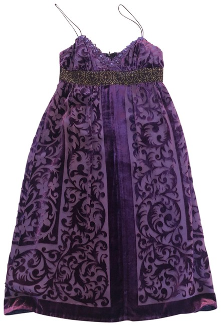 Item - Purple and Gold Velour/Silk/Rayon Mid-length Formal Dress Size 4 (S)