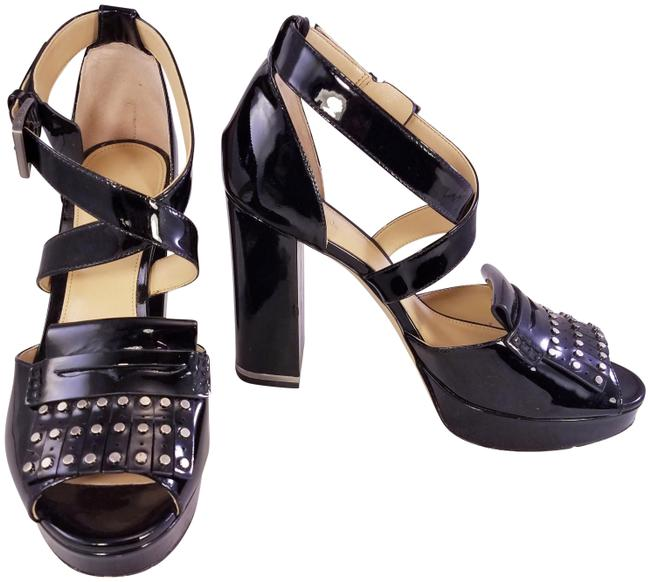 Item - Black Stunning Patent Leather Studded Ankle Strap Open Toe Sand Platforms Size US 8 Regular (M, B)