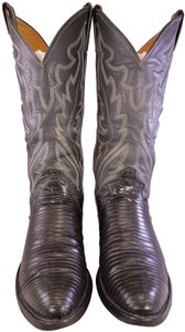 Justin Boots Man Teju Lizard Exotic Man Size 8d GRAY AND BLACK Boots
