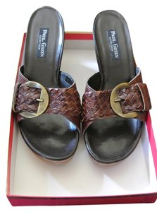 Paul Green Woven Leather Wedge Slide With Gold Buckle Brown Sandals