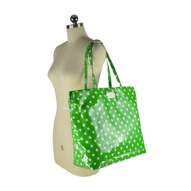 Item - Messenger Tote W Polka Dot Changing Pad Green / White Coated Canvas Diaper Bag