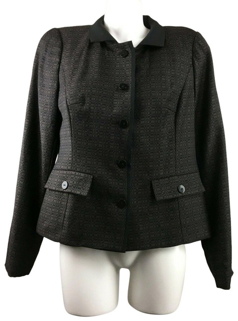 Item - Black Brown Print Button Jacket Blazer Size 6 (S)