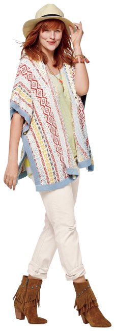 Item - Multicolor Siesta Fringe Tassel Sweater #5001 Poncho/Cape Size 6 (S)
