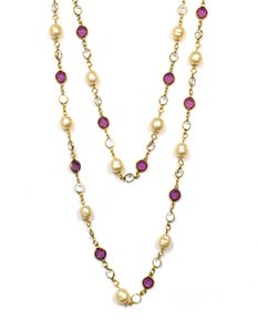 """Chanel Chanel Purple & Clear Crystals with Pearls 62"""" Vintage Necklace"""