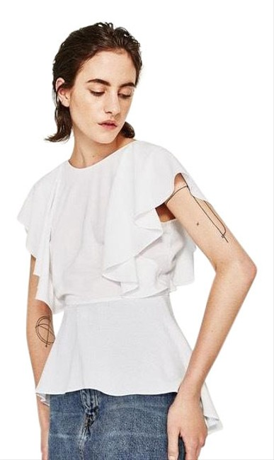 Item - White With Frills Blouse Size 8 (M)