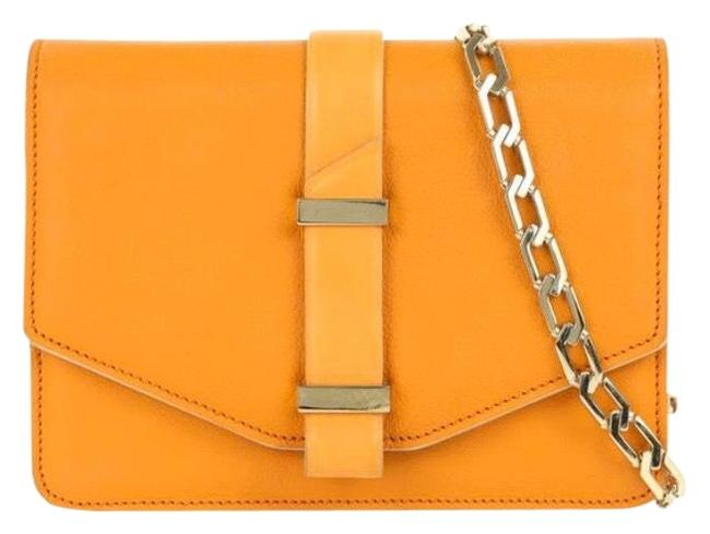 Item - Textured Mini Satchel Chain Strap Orange Leather Shoulder Bag