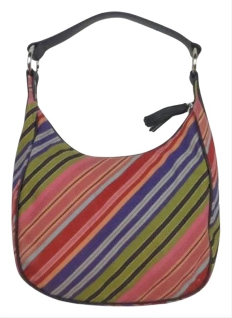 Item - Multi-color Striped Pink Shoulder Bag