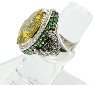 LeVian Diamond Tsavorite Lemon Quartz Ring 18K White Gold