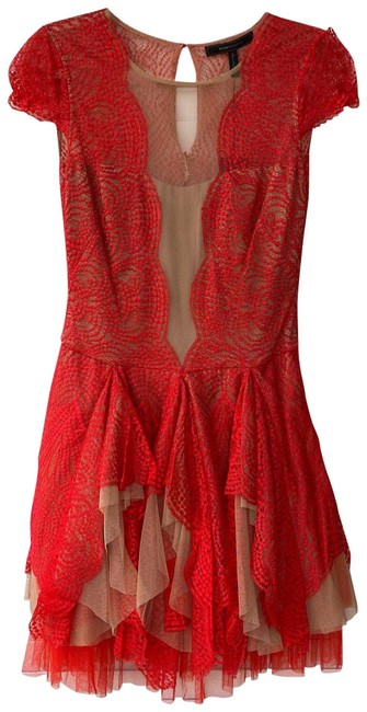 Item - Red and Tan Rochelle Short Cocktail Dress Size 2 (XS)