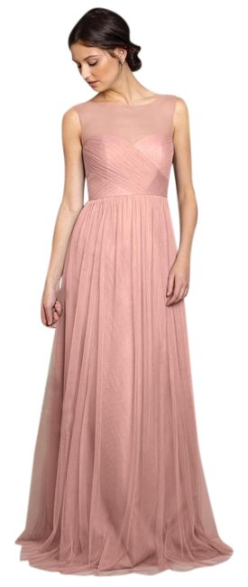 Item - Begonia Pink Aria Pleated Tulle Bridesmaids Gown Long Night Out Dress Size 10 (M)