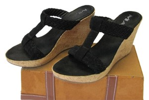 MIA Leather Size 9.50m black Wedges
