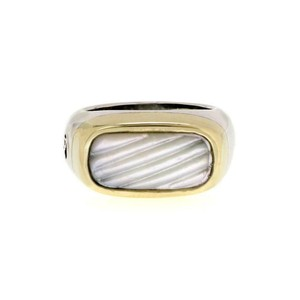 David Yurman Mother of Pearl 925 Silver 14k Gold Rectangular Ring