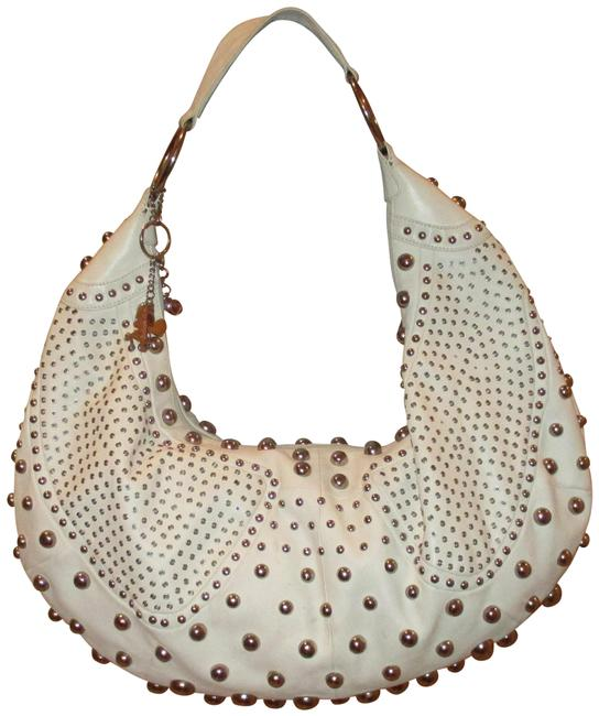 Item - Xxl with Studs Ivory Leather Hobo Bag