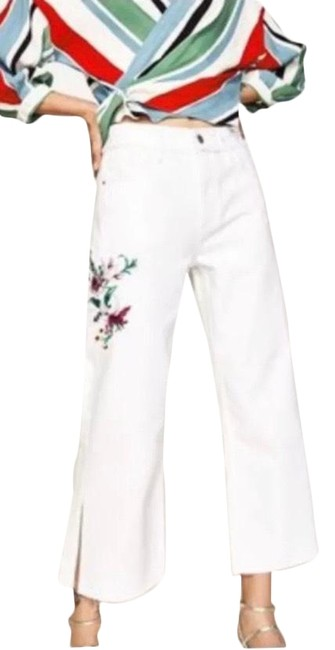 Item - White Floral Embroidered Trouser/Wide Leg Jeans Size 4 (S, 27)
