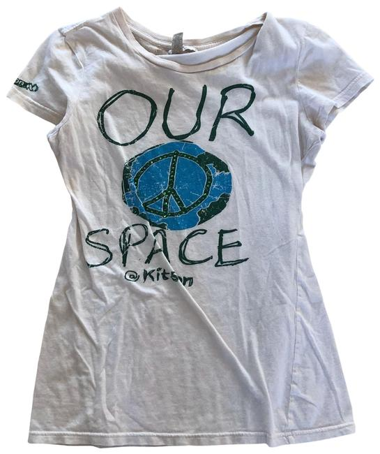 Item - White Blue Green Like New Our Space World Peace Tee Shirt Size 8 (M)